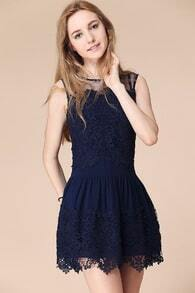 Blue Sleeveless Embroidered Sheer Mesh Lace Dress