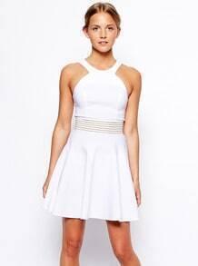 White Criss Cross Hollow Flouncing Dress