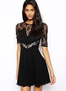 Black Short Sleeve Sheer Mesh Lace Dress