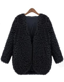 Black V Neck Long Sleeve Faux Fur Coat