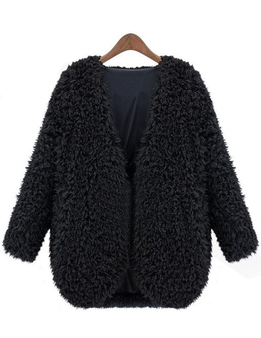 Black V Neck Long Sleeve Faux Fur Coat