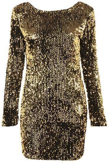 Yellow Long Sleeve Sequined Glitzy Bodycon Dress
