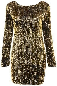 Yellow Long Sleeve Sequined Bodycon Dress