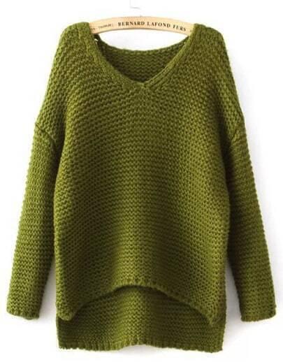 Green V Neck Dipped Hem Chunky Sweater