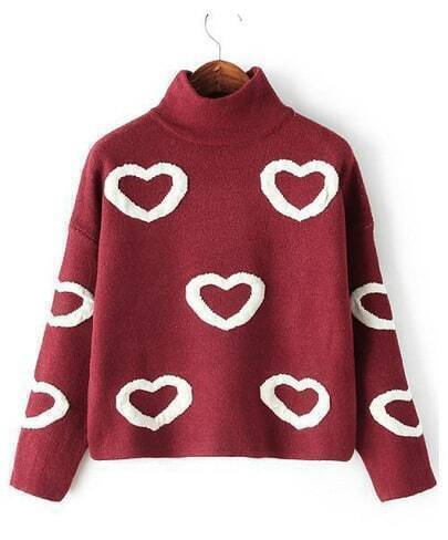Red High Neck Heart Pattern Crop Sweater
