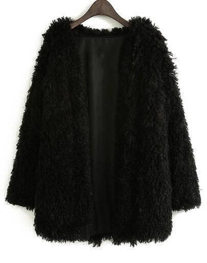 Abrigo suelto manga larga-negro