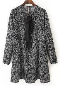 Black Long Sleeve Bow Loose Dress