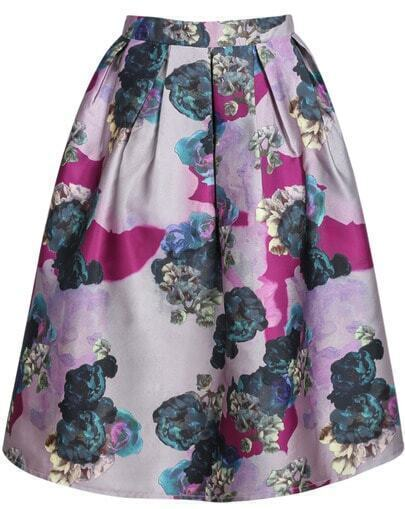 Purple Floral Pleated Skirt