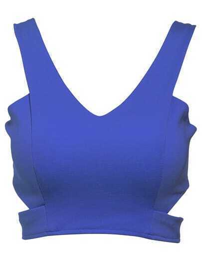 Blue V Neck Zipper Crop Tank Top