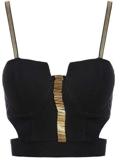 Black Spaghetti Strap Beading Crop Vest