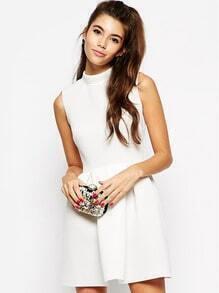White Sleeveless Flare Dress