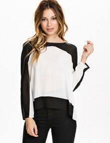 White Black Long Sleeve Color Block Blouse