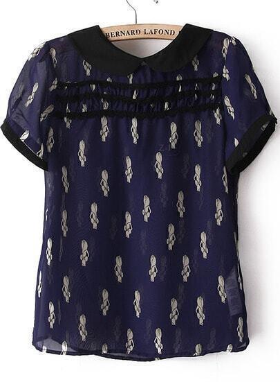 Navy Lapel Short Sleeve Beauty Print Blouse