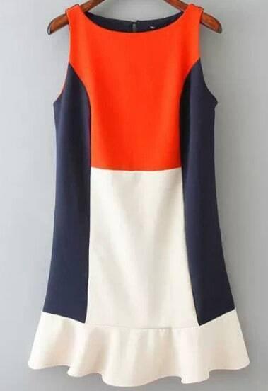 Color Block Round Neck Sleeveless Frill Dress
