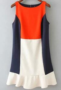 Color Block Round Neck Sleeveless Frill Dress