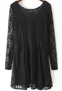 Black Round Neck Long Sleeve Lace Floral Pattern Dress