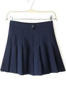 Navy Zip Pleated Skirt