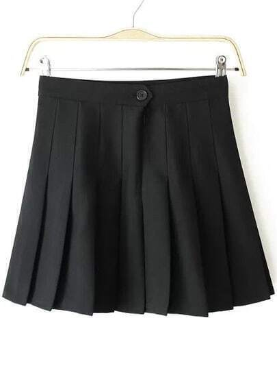 Black Zip Pleated Skirt