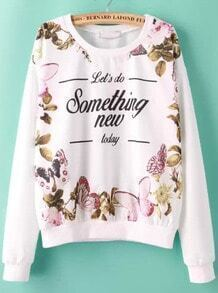 White Round Neck Long Sleeve Floral Print Sweatshirt