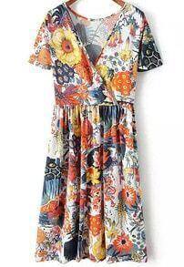 White Short Sleeve Floral Print Waist Dress