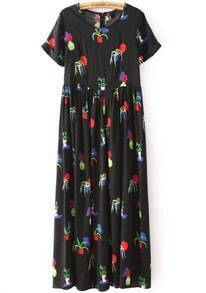 Black Round Neck Short Sleeve Floral Print Dress