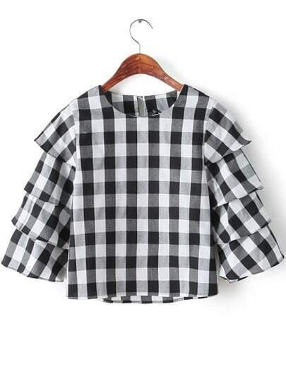 Black Round Neck Cake Sleeve Plaid Blouse