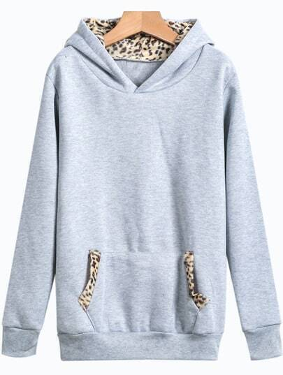 Grey Hooded Leopard Pockets Sweatshirt