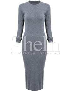 Grey Long Sleeve Skinny Split Dress