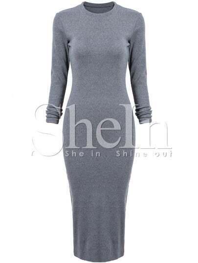 Grey Fairisle Long Sleeve Skinny Split Dress
