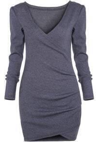 Grey Deep V Neck Long Sleeve Bodycon Dress