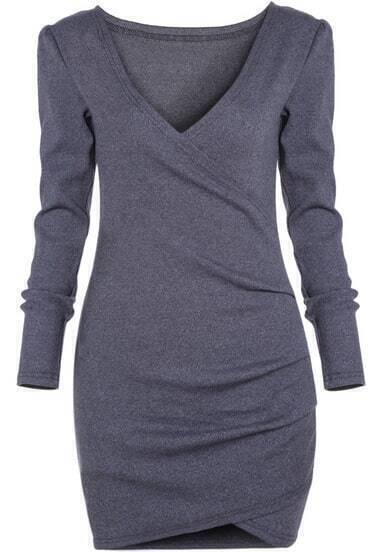 Grey Deep V Neck Long Sleeve Bodycon Dress