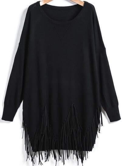 Black Long Sleeve Tassel Loose Sweater