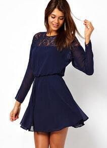 Blue Long Sleeve Lace Hollow Dress