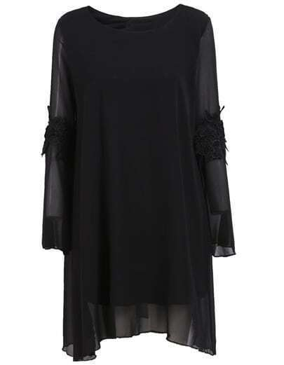 Black Long Sleeve Embroidered Loose Dress