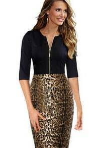 Black Half Sleeve Leopard Bodycon Dress