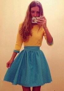 Yellow Blue Round Neck Flare Dress
