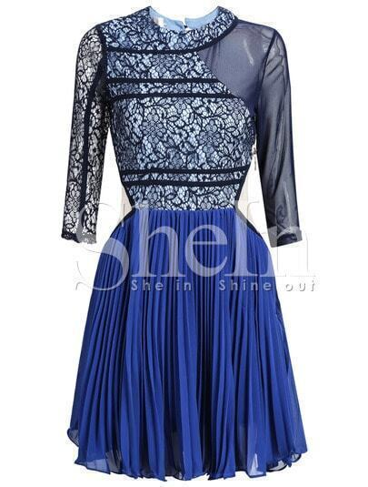 Blue Long Sleeve Lace Pleated Dress