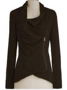 Brown Long Sleeve Asymmetric Zip Outerwear