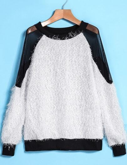 White Contrast Sheer Mesh Backless Sweater