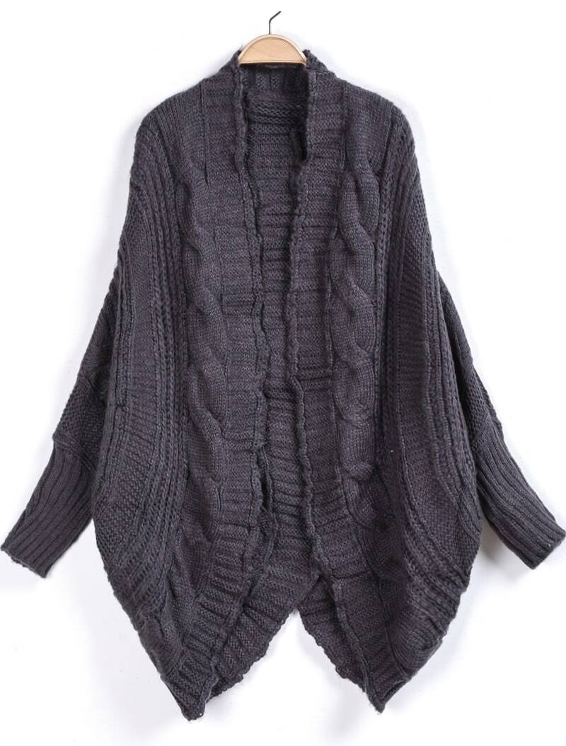 Grey Long Sleeve Loose Cable Knit Cardigan -SheIn(Sheinside)