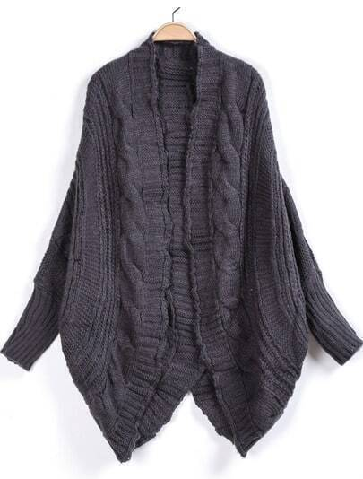 Grey Long Sleeve Loose Cable Knit Cardigan