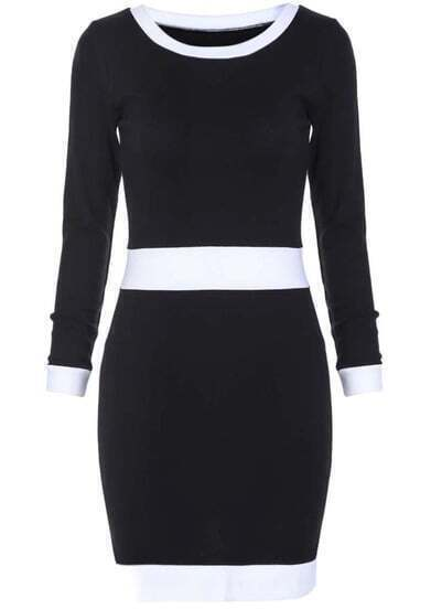 Black Long Sleeve Skinny Bodycon Dress