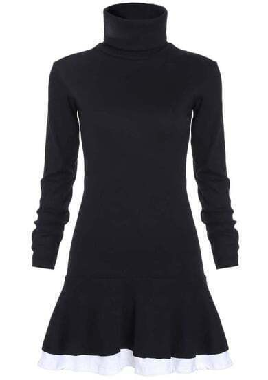 Black High Neck Slim Flouncing Dress
