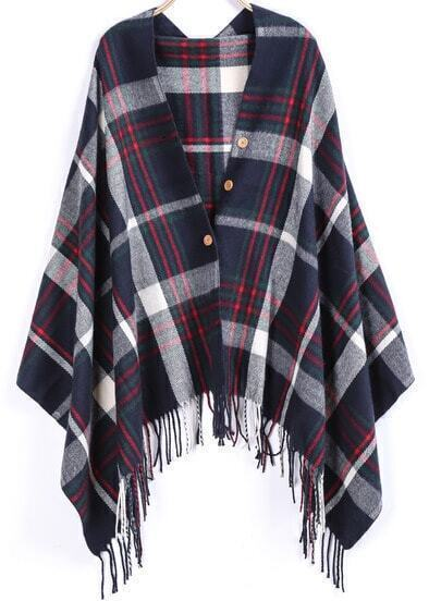 Navy Plaid Buttons Tassel Scarve