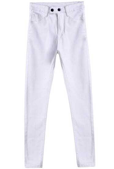 White Buttons Denim Pant