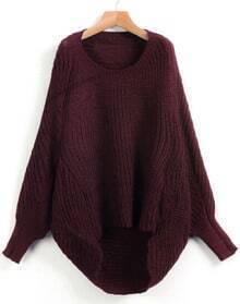Red Dipped Hem Ribbed Lose Sweater