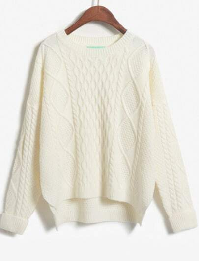 White Long Sleeve Dipped Hem Cable Knit Sweater
