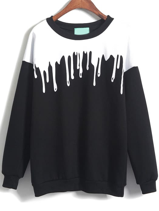 Patterned Print Loose Sweatshirt sweatshirt141219153