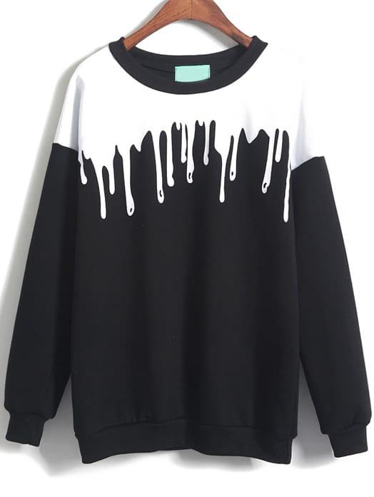 Patterned Print Loose Sweatshirt sweatshirt141219153