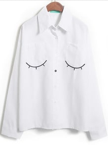 White Long Sleeve Eyelash Embroidered Blouse